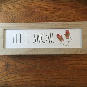Rae Dunn LET IT SNOW Wooden Sign NWT